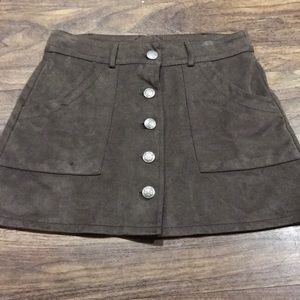 {AE} Brown button up skirt
